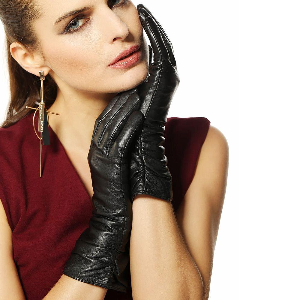 Driving gloves girl - Best Leather Gloves Women Middle Long Style Genuine Leather Gloves Female 2015 Fashion Sheepskin Gloves Winter Driving Gloves L010nc Under 127 15 Dhgate