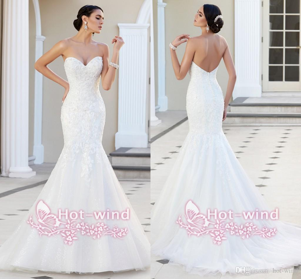 Fishtail Wedding Dress With Train : Fishtail wedding dress vintage sweetheart backless mermaid sweep train
