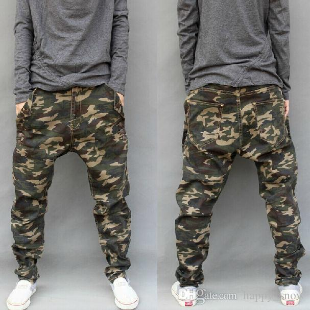 New Army Fashion Hanging Crotch Jogger Pants Patchwork Harem Pants ...