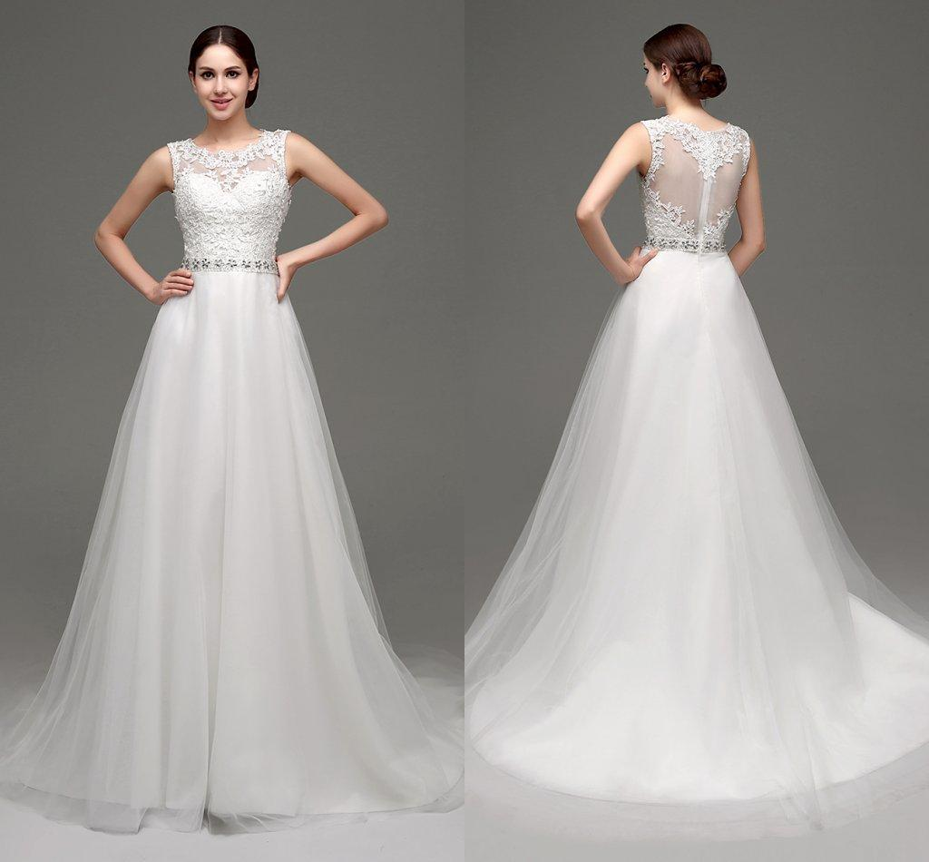 in stock lace wedding dresses 2017 cheap jewel neckline sheer wedding gowns appliques beaded white