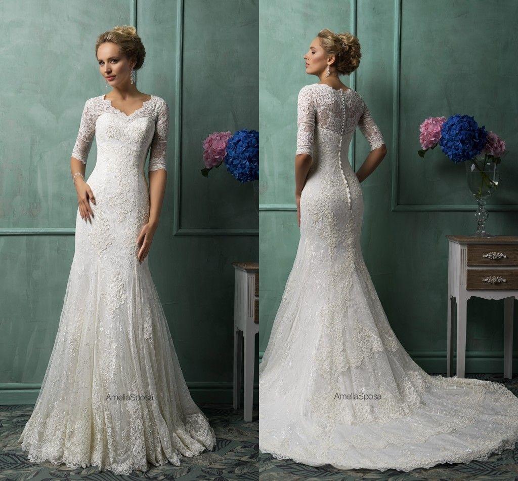 Elegant Inspired 2014 Mermaid Wedding Dress Appliqued Lace