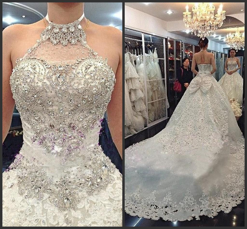Bling Bling Luxury Crystals Beaded Wedding Dresses A Line Halter ...