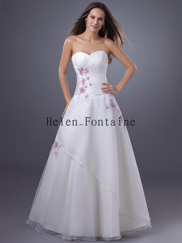 Simple a line strapless purple white wedding dresses two for Simple colored wedding dresses