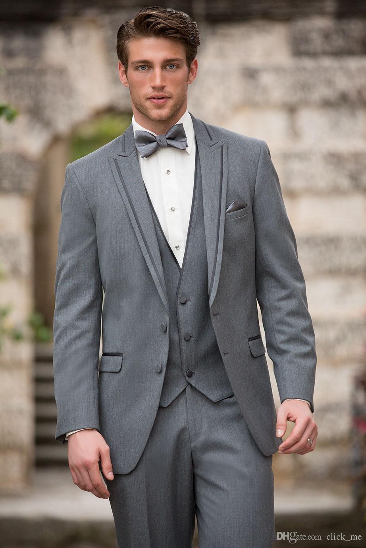 2015 Moda Negro Moderna Corbata de Moño Clásico Gris Satinado Novio de Esmoquin Hombres Trajes Conjunto