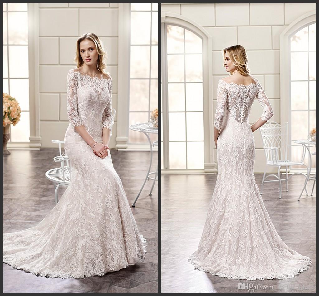 Vintage Lace Wedding Dresses f The Shoulder Half Long