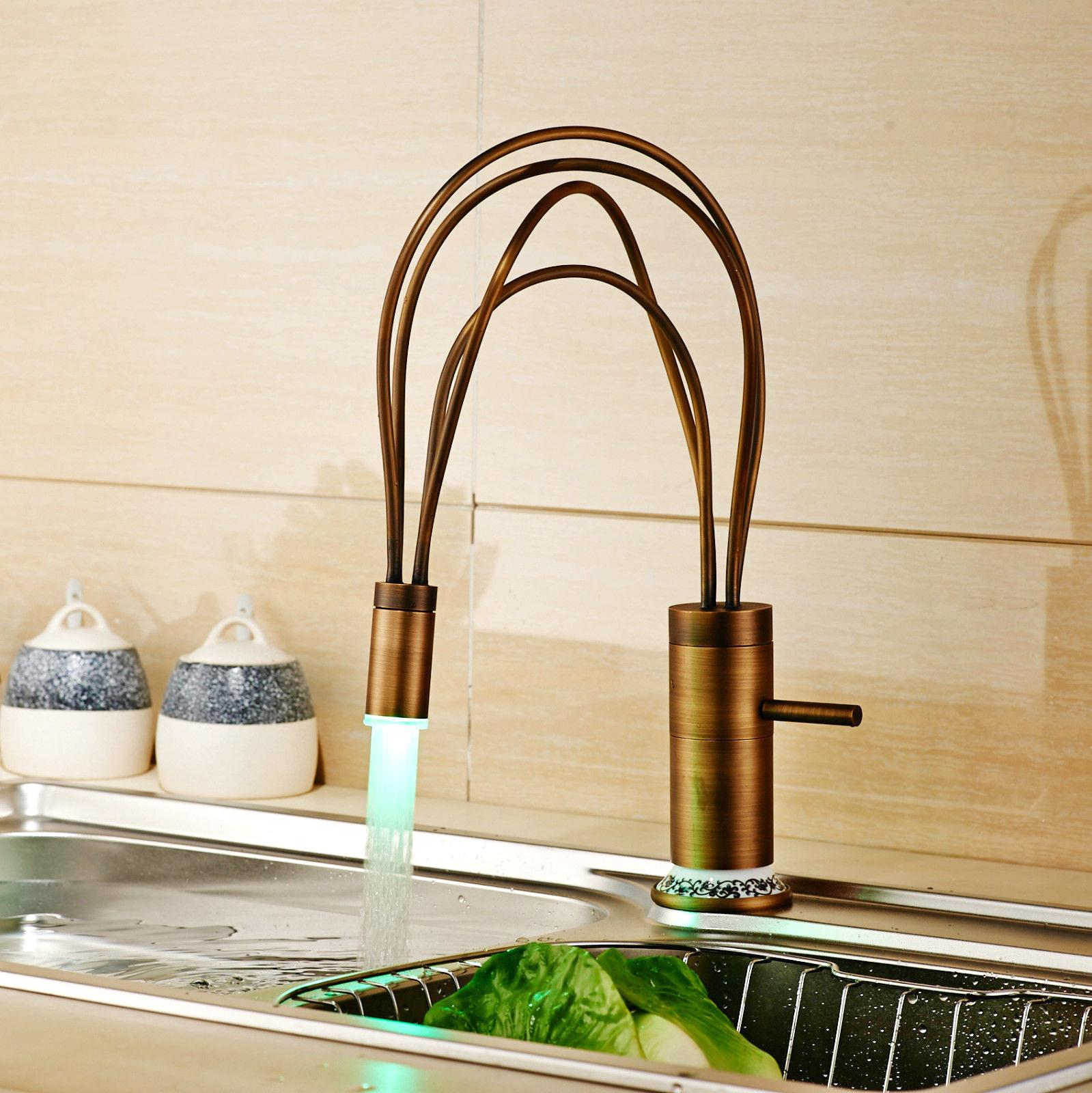 antique brass kitchen sink faucet flexible kitchen taps with hot and cold water led light deck - Brass Kitchen Sink