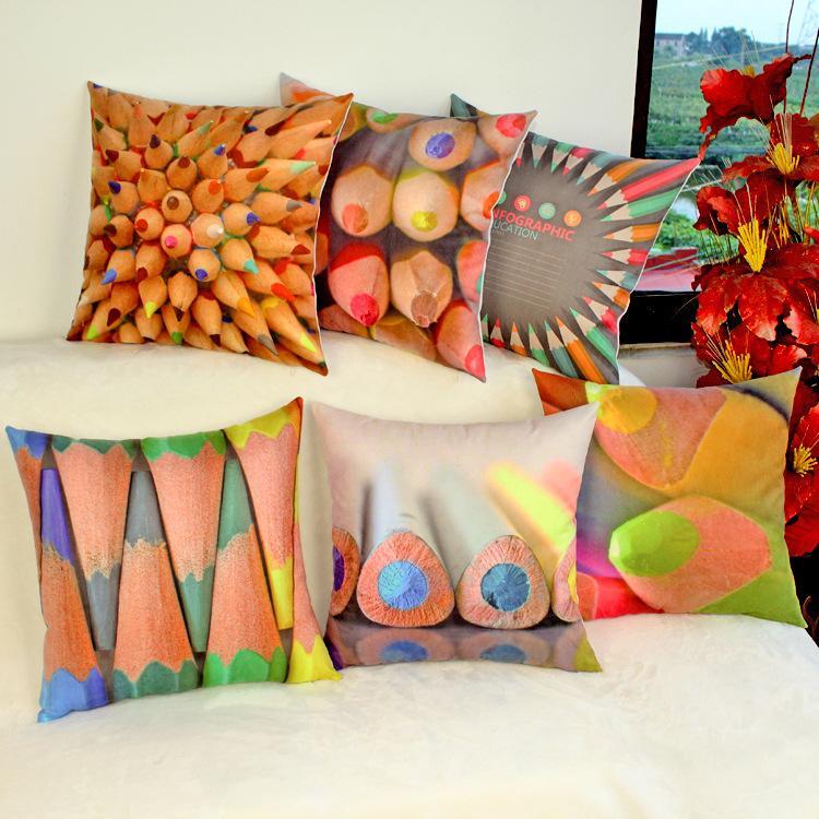 Rainbow Pencil Sofa Cushion Covers Pastel Pencil Soft Decorative