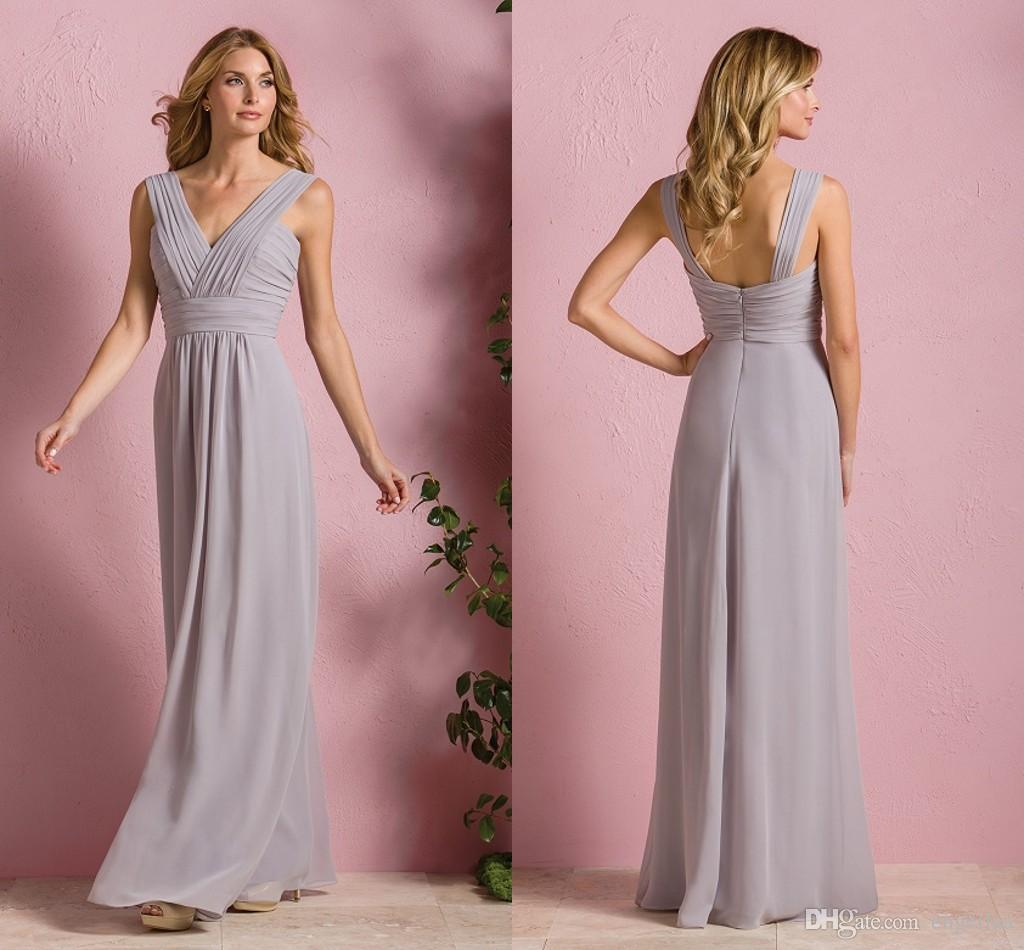 Cheap long bridesmaid dresses under for choose v neck for Long wedding dresses under 100