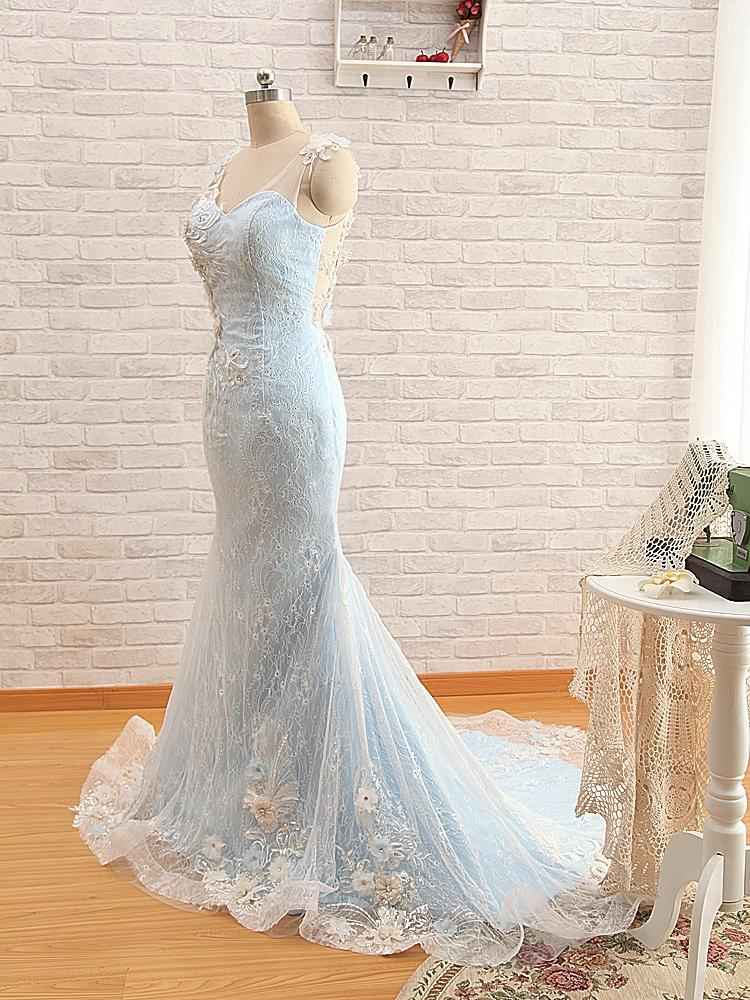 Mermaid light blue wedding dresses lace overlay sheer for Light blue and white wedding dresses