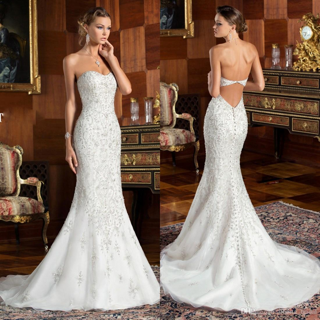 Bling strapless cheap long mermaid lace wedding dresses for Strapless wedding dresses with bling