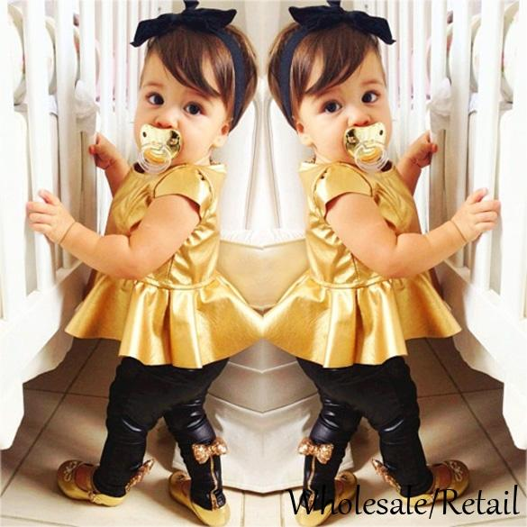 2015 New Cool Baby Girl Suit Gold Shirt Dress Leggings Pants Sexy ...