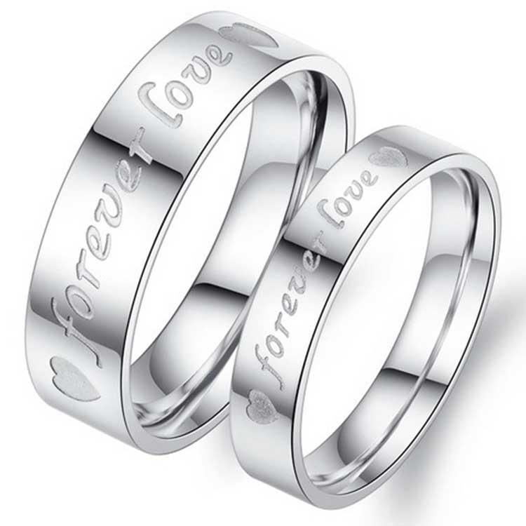 couple wedding ring nice gift for lover silver color fashion tatinium steel jewelry promise lover simple ring couple wedding ring gift ring lover ring - Couple Wedding Rings