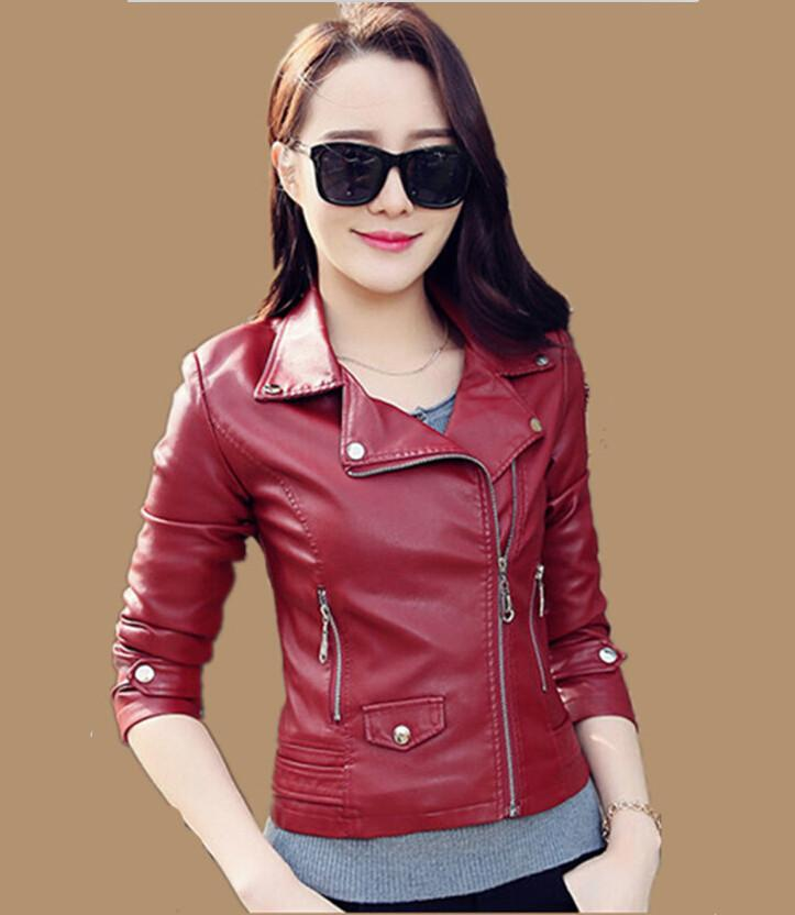 Short Leather Jacket Women Female Clothing Outerwear Spring And