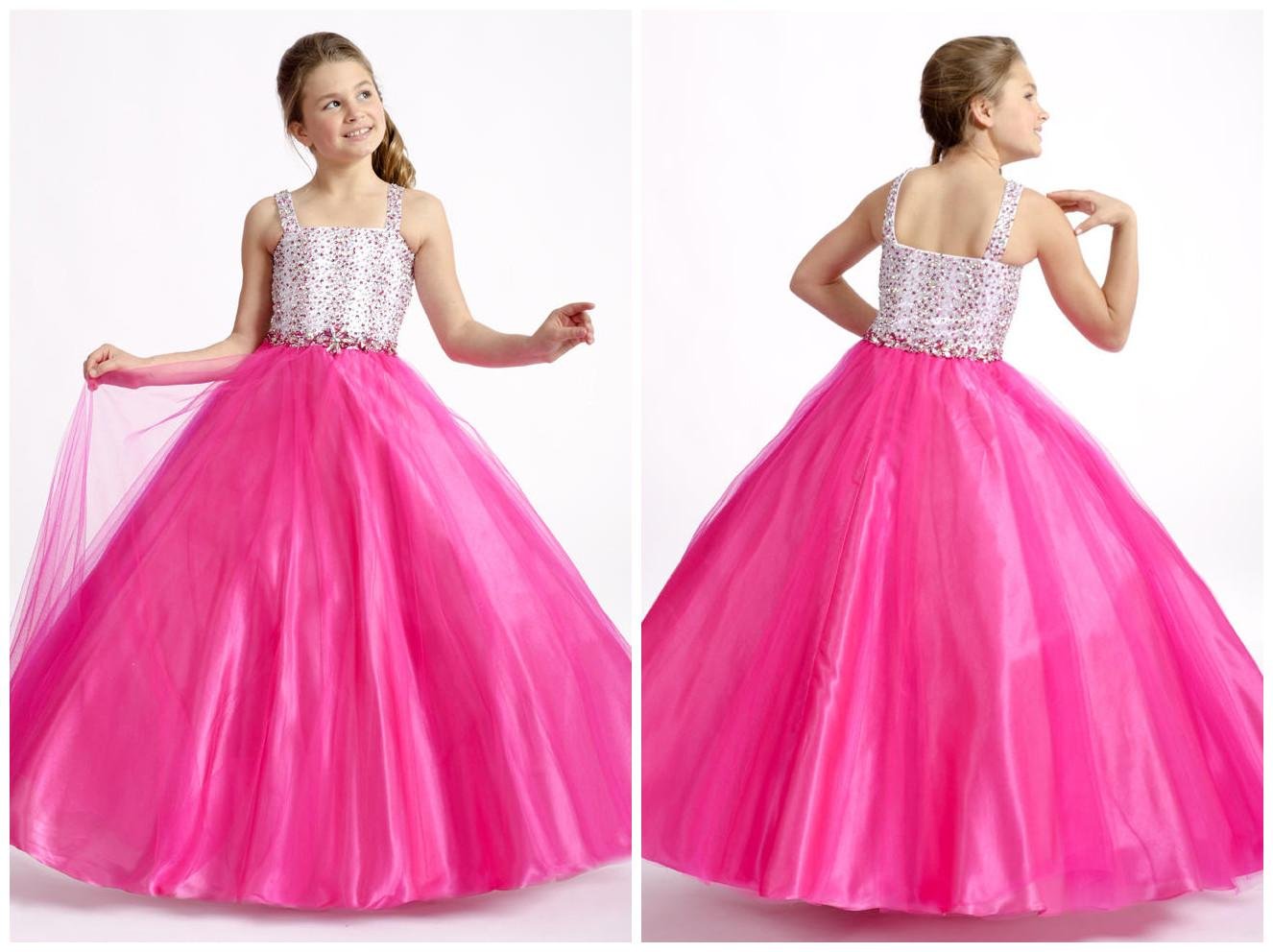 Hot Pink Girls Pageant Wedding Party Beach Dresses 1482