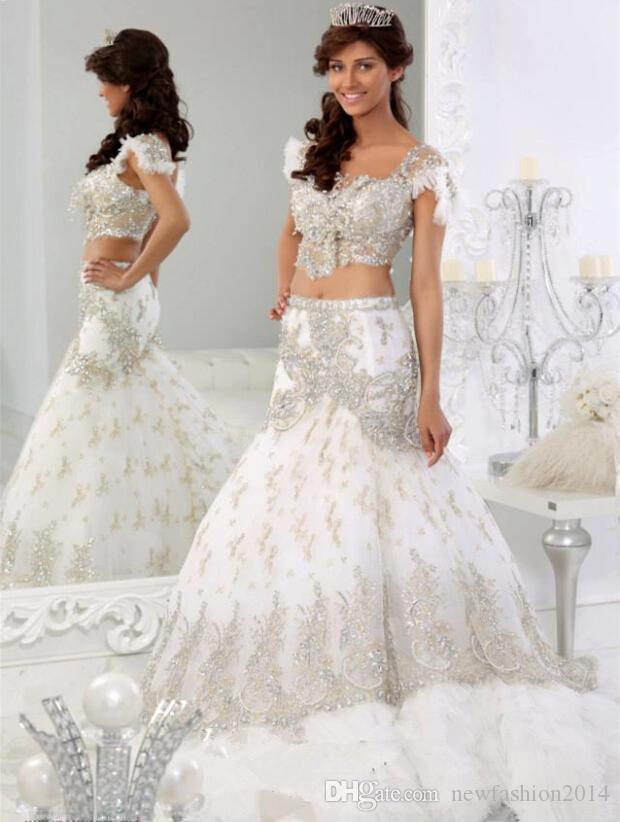african traditional 2015 lace wedding dresses luxury crystal jajja bridal gowns mermaid sweetheart neck cap sleeves two pieces 2016 designer wedding dress