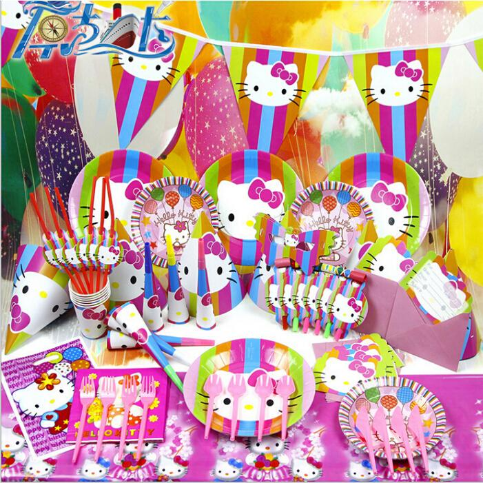 Cartoon styles hello kitty anime theme kids xmas birthday for Baby full moon party decoration