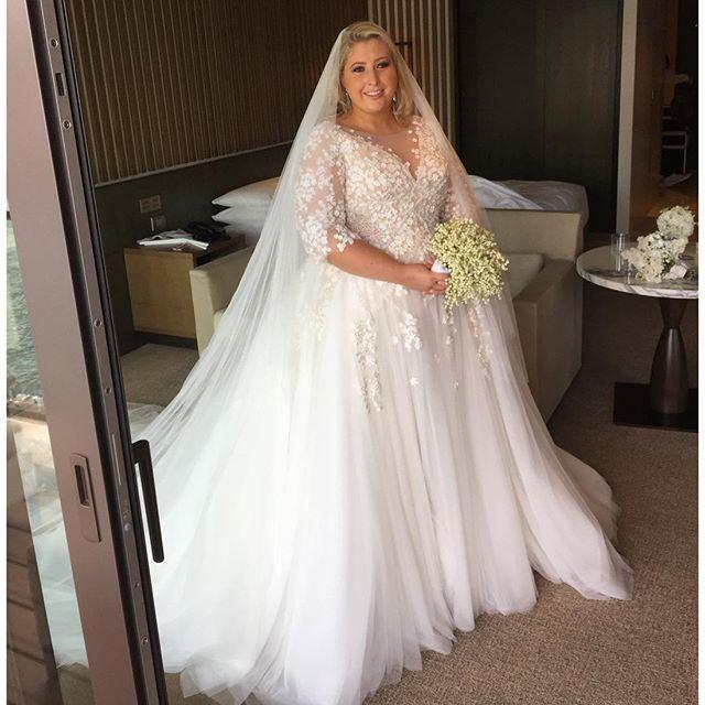 Discount Beautiful Plus Size Wedding Dresses Tulle Applique Maternity Illusion Bodice Bridal