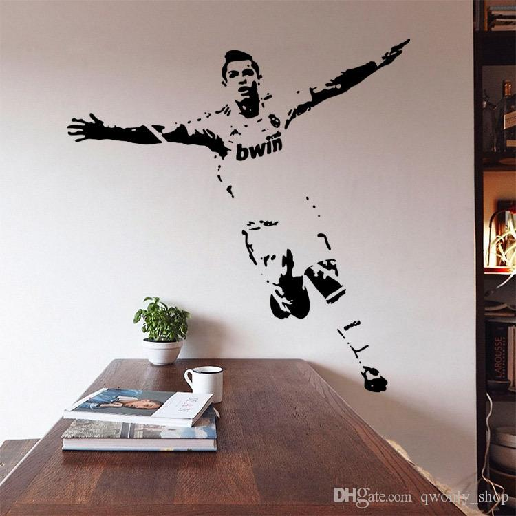 New vinyl removable pvc art mural football cristiano for Cristiano ronaldo wall mural