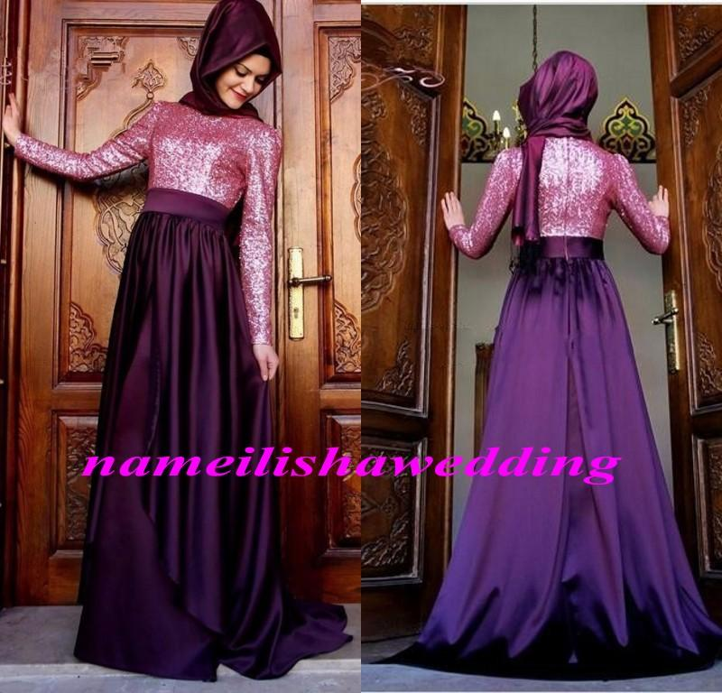 Hijab long sleeve bridesmaid dresses sequins satin arabic for Muslim wedding guest dresses