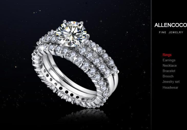 luxury wedding ring three layer pattern diamond rings zircon gemstone - Luxury Wedding Rings