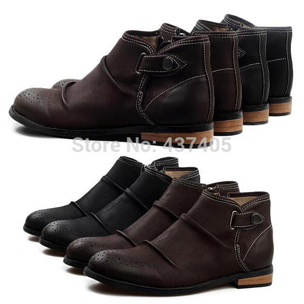 New Brand Black Brown Mens Ankle Boots Wedding Party Pu Leather ...