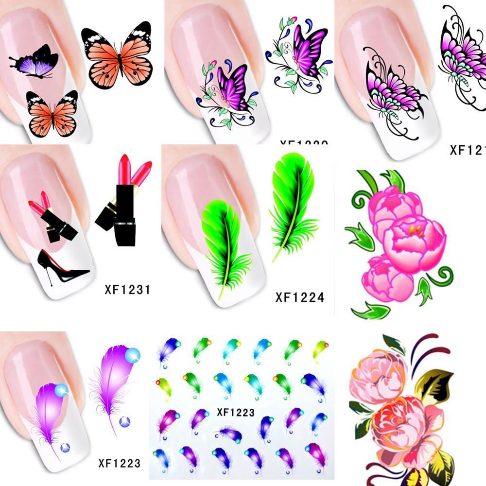 3d Nail Art where to buy 3d nail art supplies : Wholesale-60Sheets XF1181-XF1240 New Water Transfer Nail Art ...