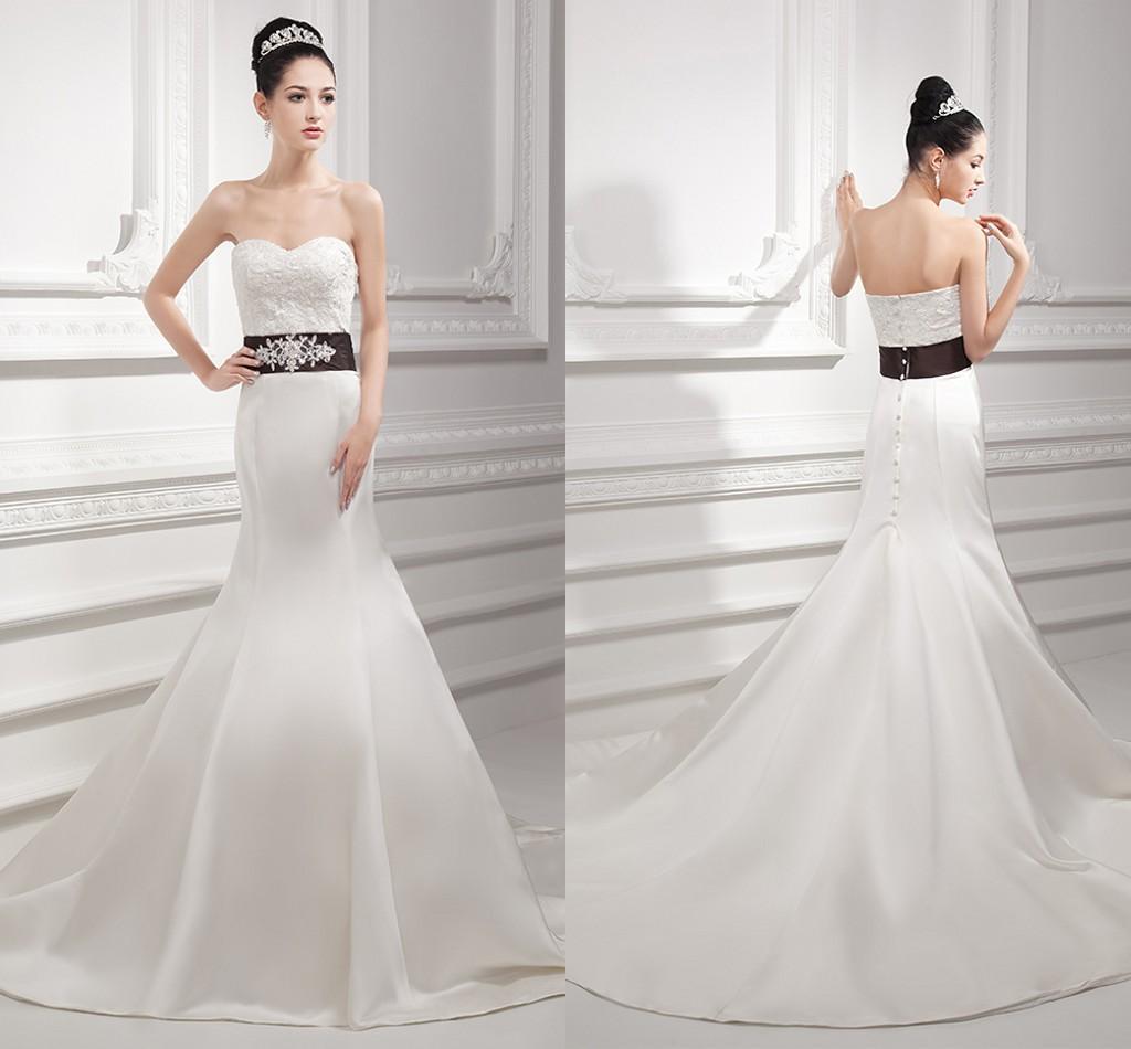 Simple Mermaid Strapless Lace Satin 2015 Wedding Dresses