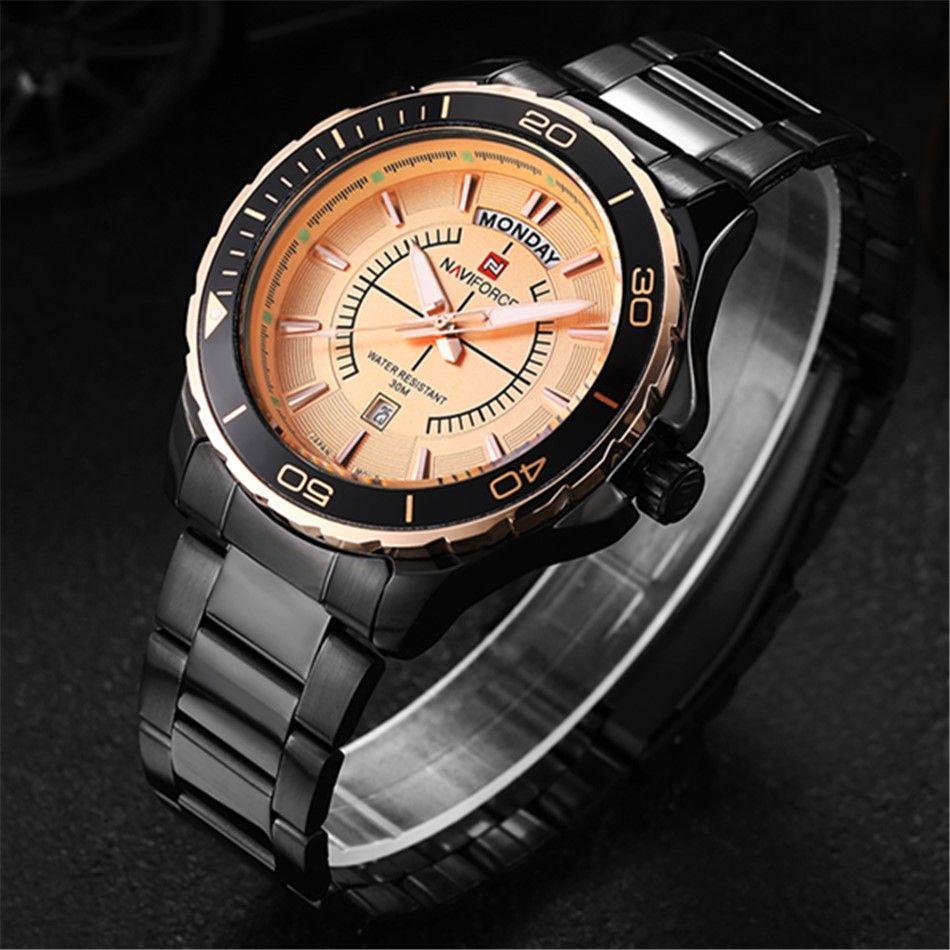 designer brand naviforce 9053 fashion luxury watches men stainless designer brand naviforce 9053 fashion luxury watches men stainless steel band gold dial calendar quartz wrist watch gold watches expensive watches from