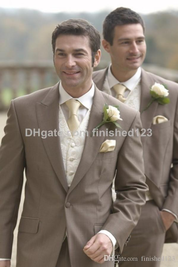 Custom Made One Button Light Brown Groom Tuxedos Peak Lapel