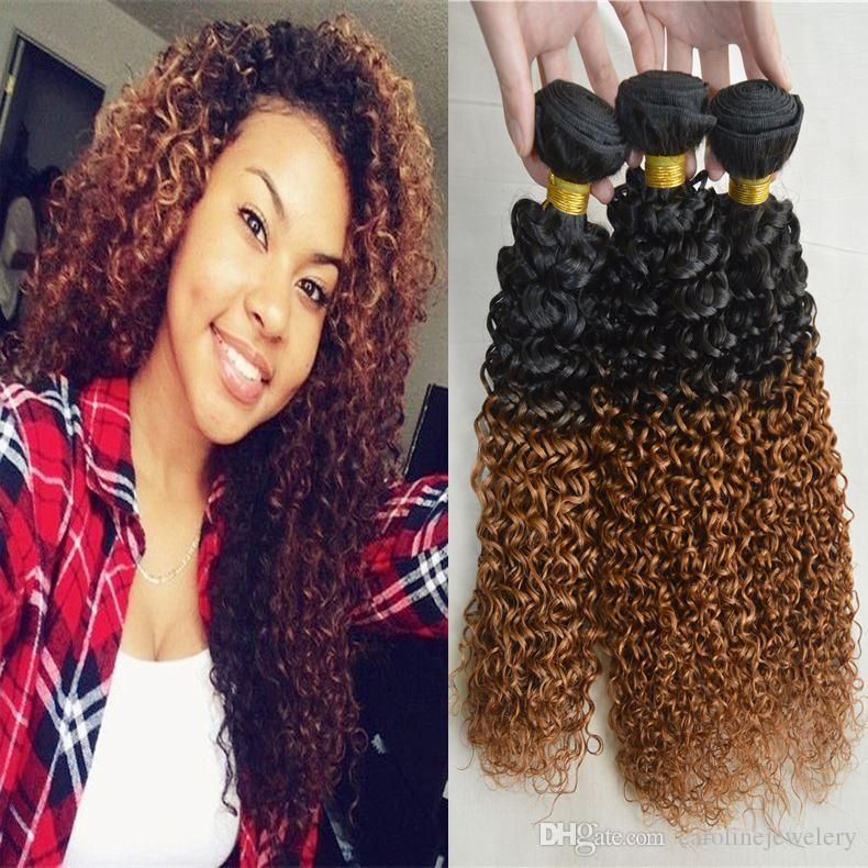Miraculous Two Tone Ombre Hair Weaving 1B 30 100G Remy Humen Hair Jerry Curly Short Hairstyles Gunalazisus