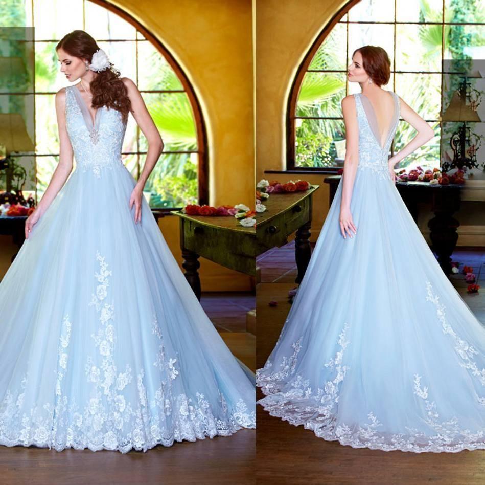 2015 sky blue wedding dresses beautiful a line kittychen v for Sky blue wedding guest dresses