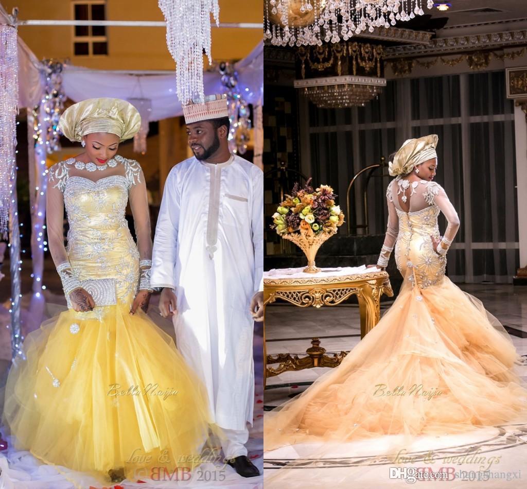 Gold Dubai Wedding Dresses 2016 Modest Mermaid Wedding