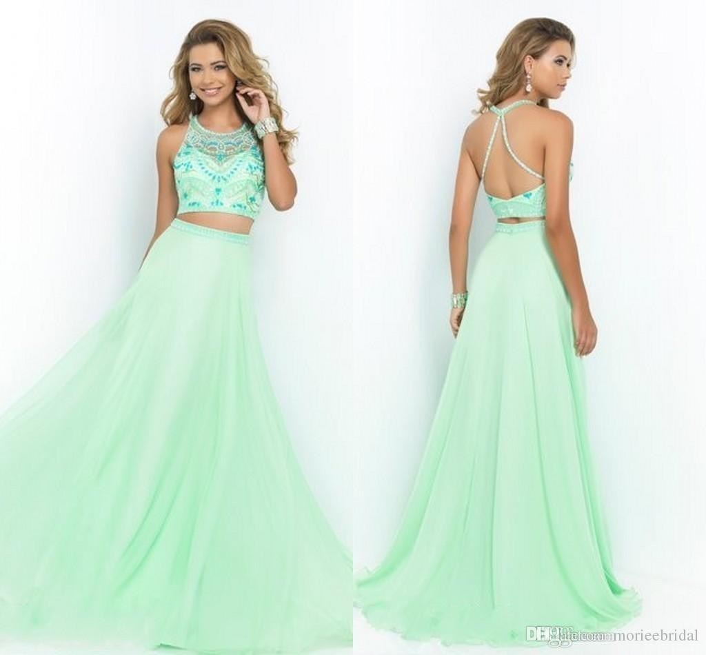 Two Pieces Prom Dresses 2015 Sexy Long Chiffon Light Green Cheap ...