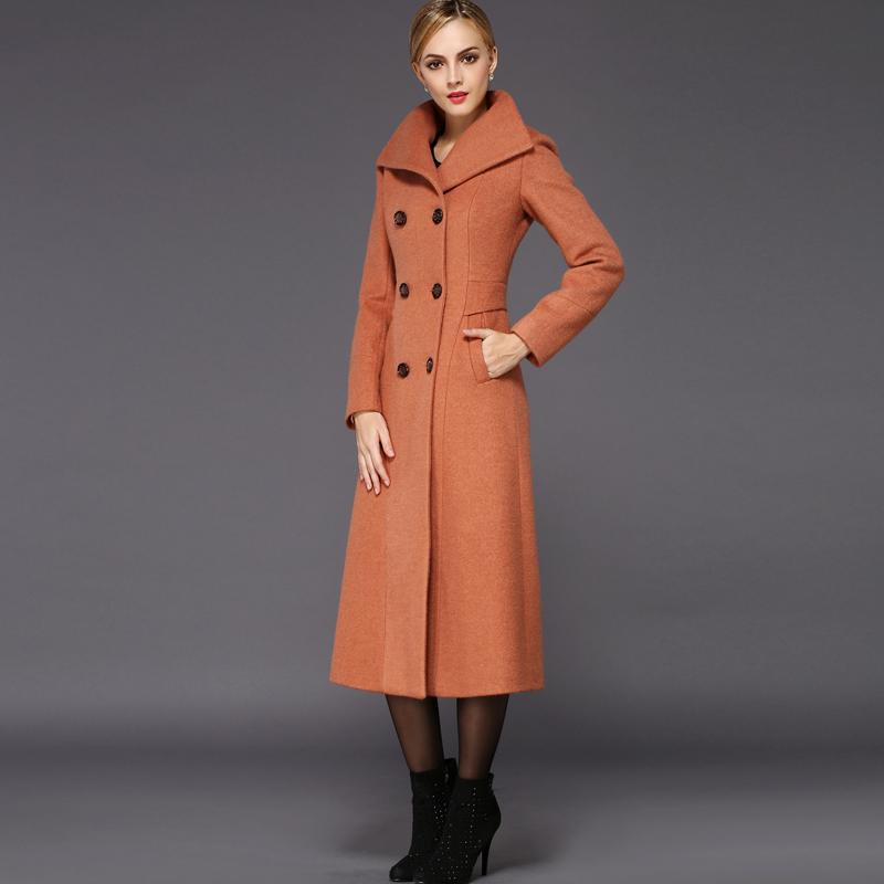 Best 2015 New Fashion Womens Long Jacket Wool Coat Plus Size