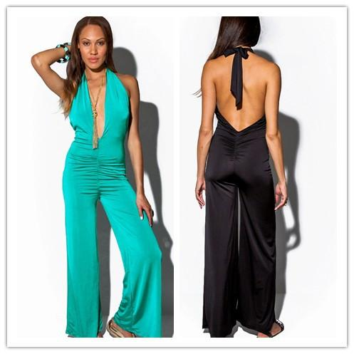 2017 Black Jumpsuits & Rompers Women Clothing Halter Sexy Deep V ...