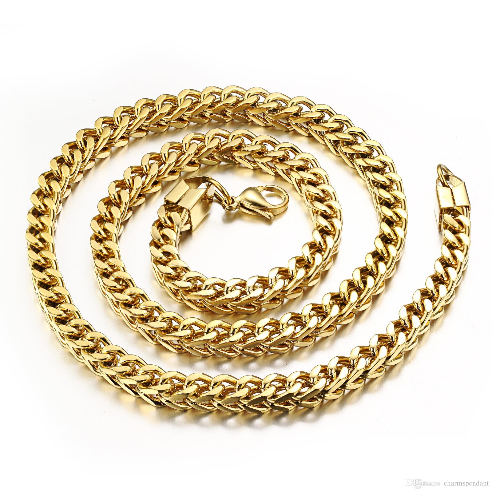 Middle eastern style 316l stainless steel 18k gold figaro for East indian jewelry online
