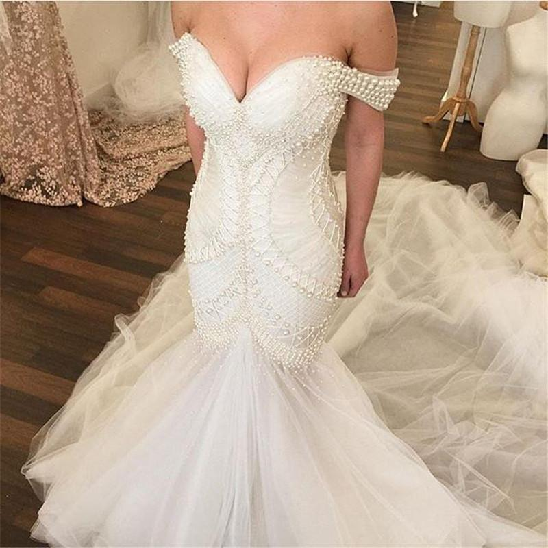 Elegant major beading pearls mermaid wedding dresses 2016 for Beautiful fitted wedding dresses