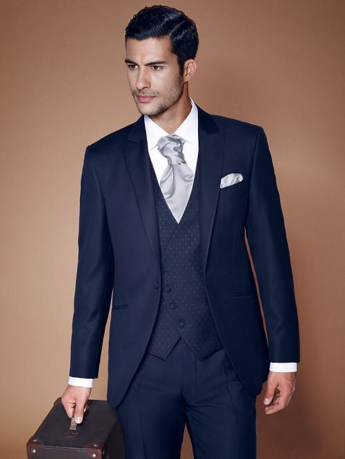 Navy Blue Men Wedding Suits Notched Lapel Grooms Tuxedos Three ...