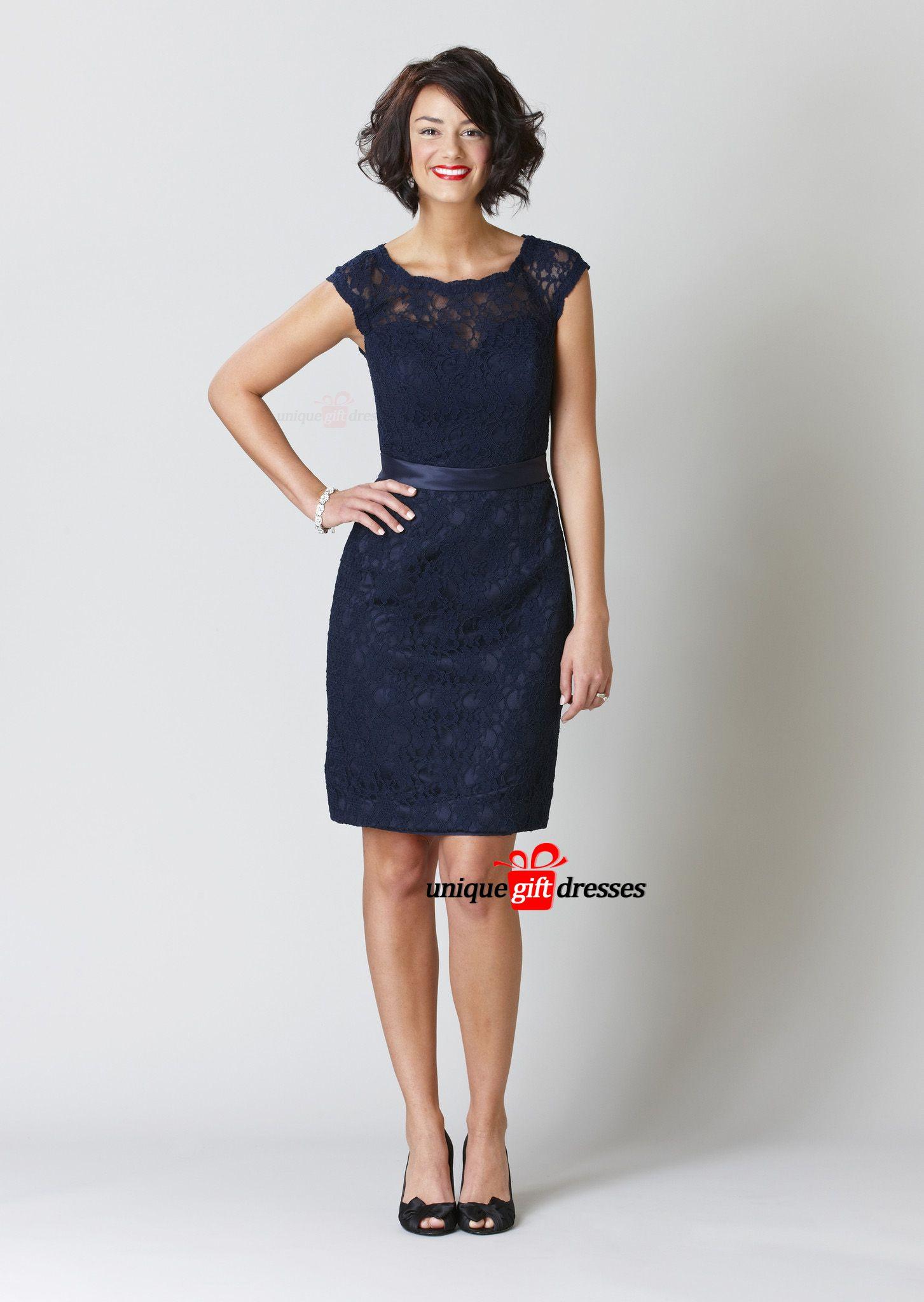 Dark Navy Jewel Knee Length Lace Bridesmaid Dresses Party