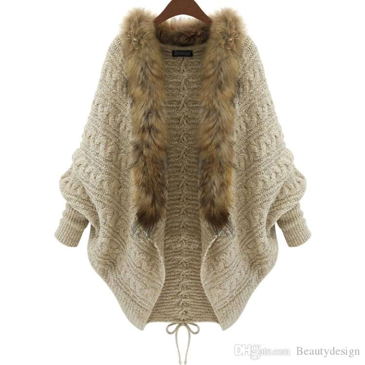 2016 Winter New Cardigan Poncho Collier en fourrure Vêtements d'extérieur Sweat