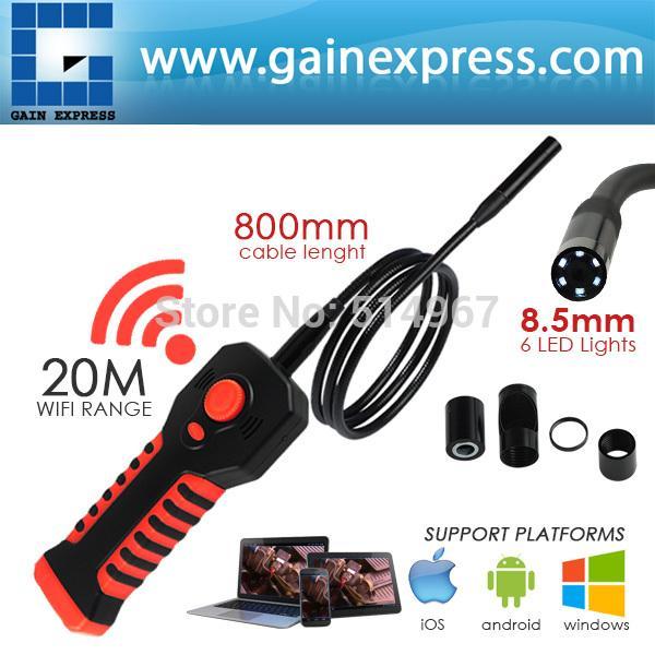 Handheld Inspection 8.5mm Camera Head HD 20M WIFI Range Waterproof Endoscope 6 LED Lights Tube iOS Android Windows iPhone iPad