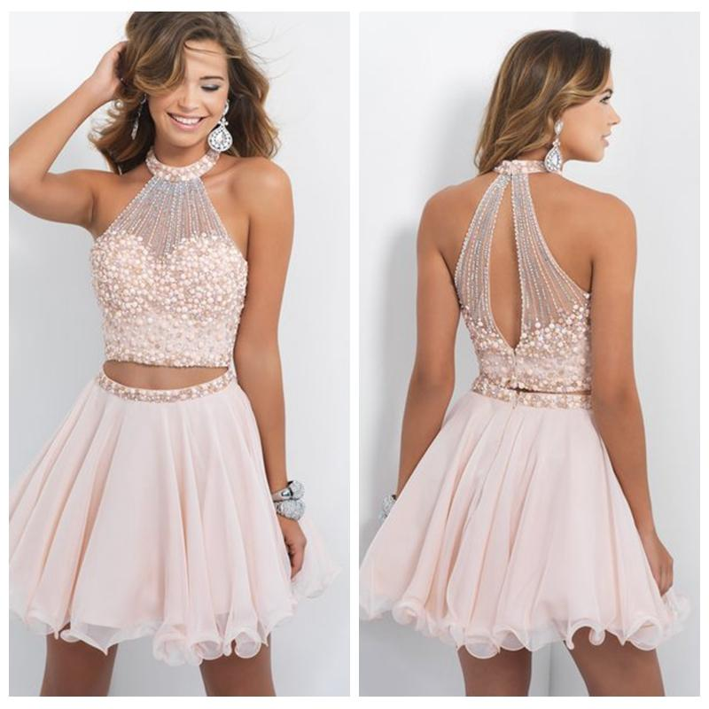 Blush Two Piece Homecoming Dresses High Neck Open Back Freshman ...