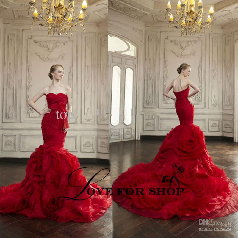 Red wedding dresses sweetheart neckline tulle ruffle bow for Big red wedding dresses