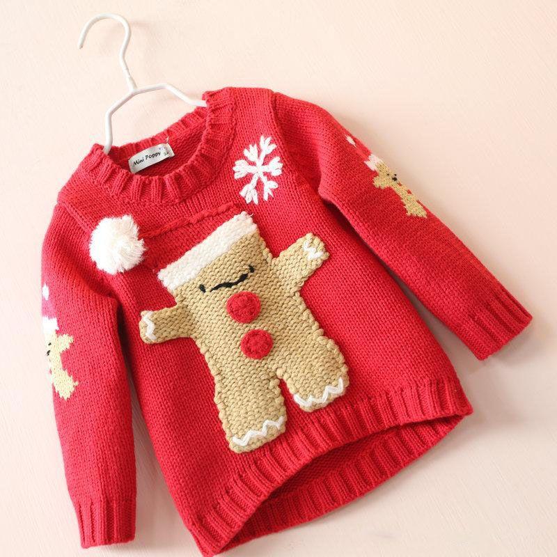 Girls Christmas Knit Sweaters Baby Girl Fall Winter Red Cartoon Jumper Pullov...