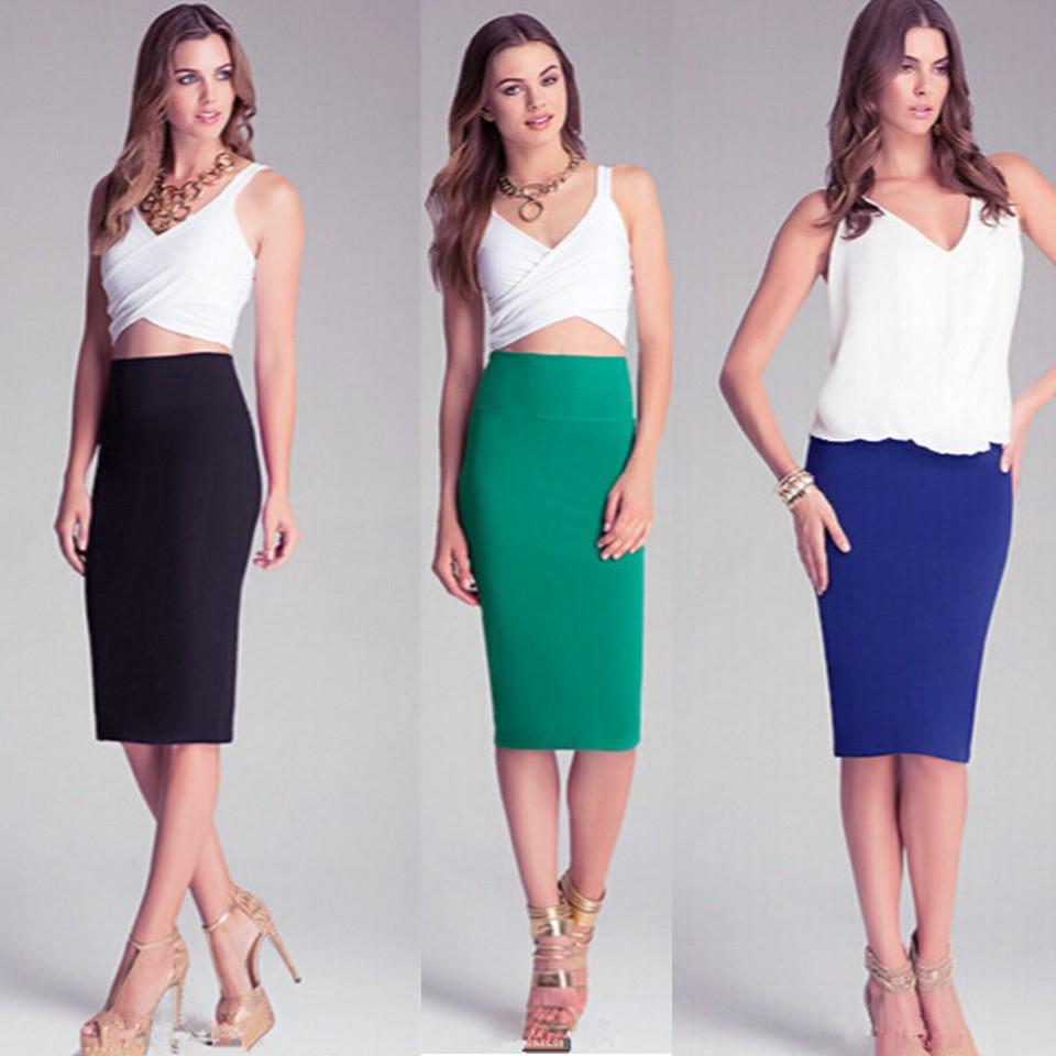 2017 Women New Sexy Slit Solid Color Midi Skirt Close Fitting ...