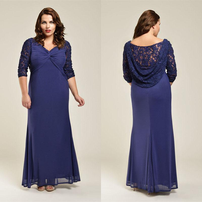 2015 Sexy Mermaid Plus Size Long Evening Gowns 3/4 Long Sleeve V ...