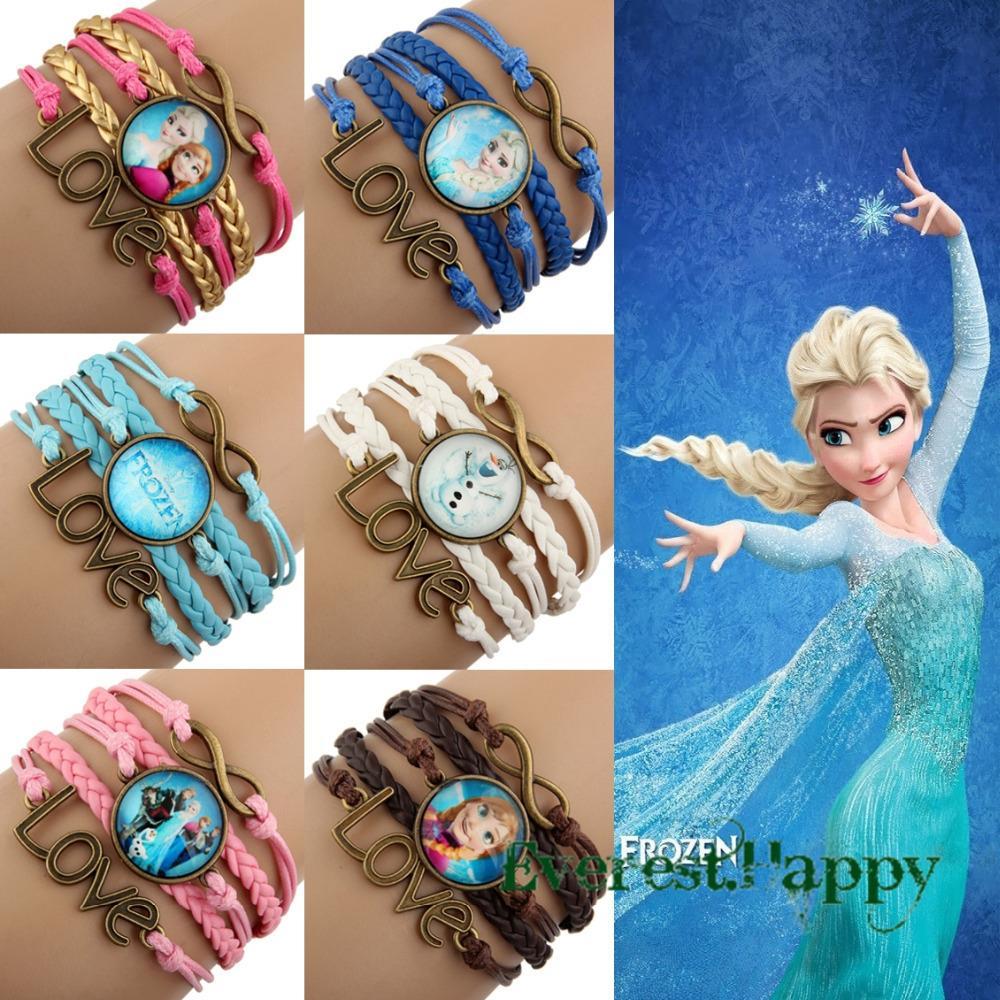 Frozen Friendship Infinity Bracelets Antique Bronze Sideways Charm Queen  Elsa Princess Anna Olaf Infinity Love Wristbands 2014 Leather Bracelets  Times