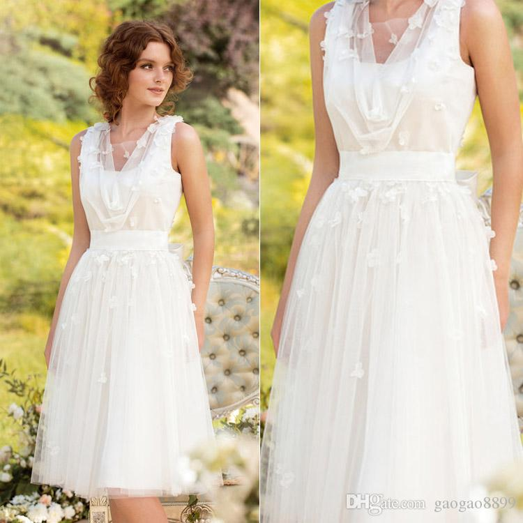 Romantic Summer Wedding Dresses V Neck Tulle Knee Length Sheer ...