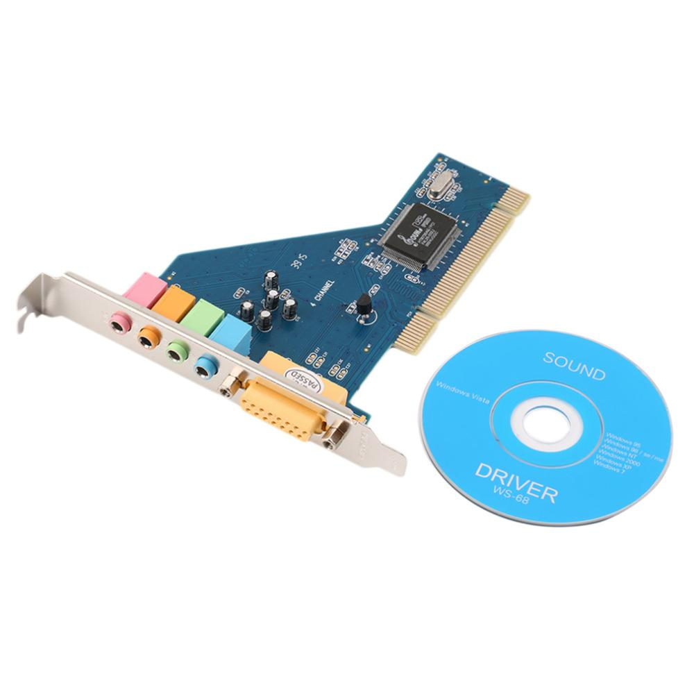 2016 Nouvelle carte sonore audio PCI 3D 4 canaux 5.1 surround pour PC Windows XP