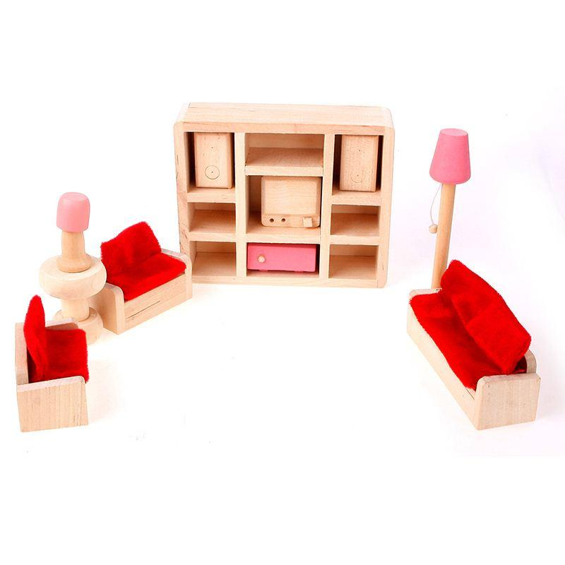 Online Cheap Creative Mini Dollhouse Furniture Wooden Lounge Room Toy Decorating Kids Playing